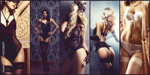 Plakat Różni moda modele pozuje w seksownej erotycznej bieliźnie. Seksowny, vogue, koncepcja mody.