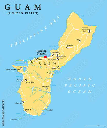 Guam Political Map With Capital Hagatna Agana Unincorporated - Pacific-ocean-on-us-map