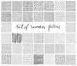 Set of hand drawn simple black and white textures