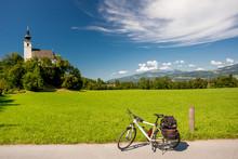 Sankt Nikolaus Church, Gollinger, Austria. Touring Bike.