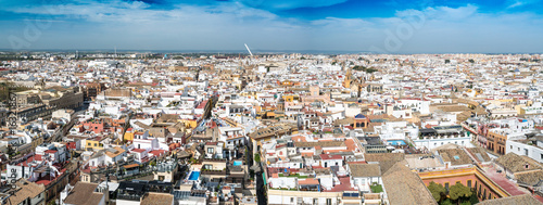 Poster Elevated view of old Seville, Andalucia, Spain