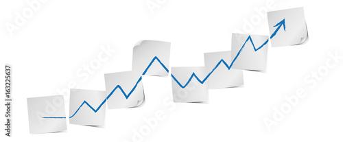 Obraz Weiße Zettel mit Pfeil Business Strategie Vektor - fototapety do salonu