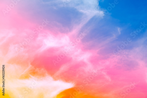 Beautiful Colorful Soft Focus Of Cloud And Sky In Pastel Vitage And