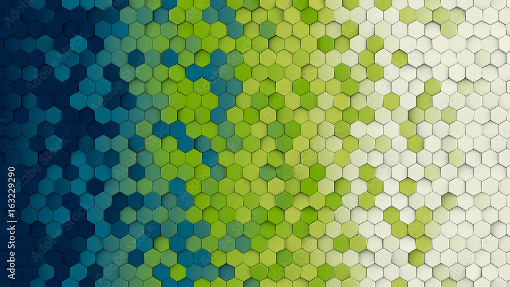 Fototapety, obrazy: Colorful hexagon pattern abstract 3D rendering