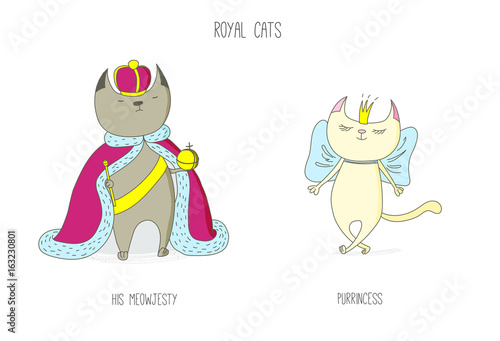 Fototapeta Hand drawn vector doodles of cute funny royal cats - king and princess in crowns, with text obraz na płótnie