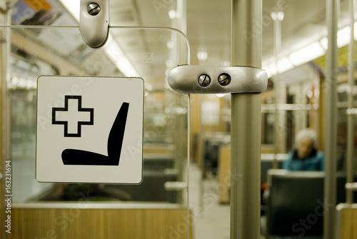 wähle spätestens große Auswahl offiziell Interior of Munich metro wagons, U bahn, close-up of seat ...