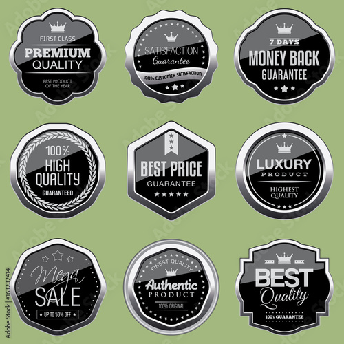Fotografie, Obraz  Set of silver luxury badges