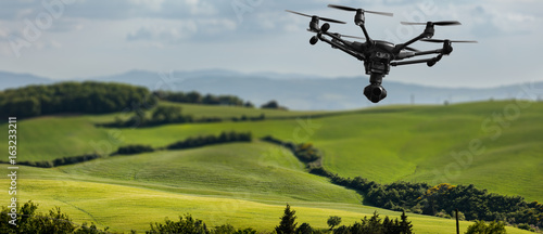 Staande foto Bleke violet A flying drone with camera with blured hills of Tuscany in the background