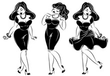 Set Of Black And White Pin-up ...