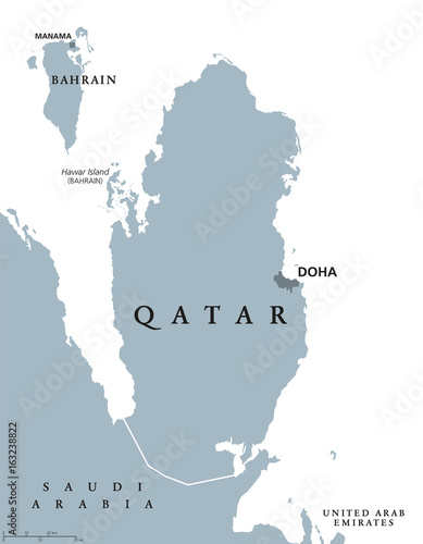 Qatar political map with capital Doha State and sovereign country