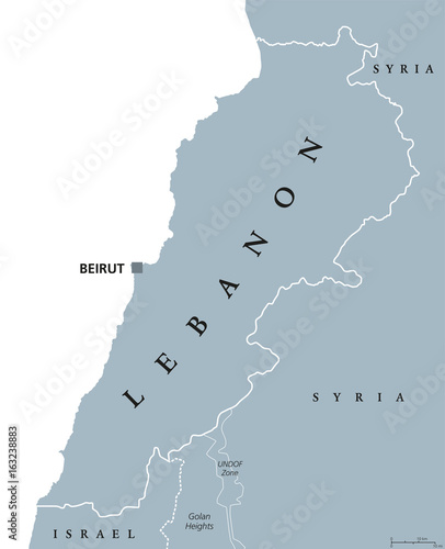 Lebanon Political Map With Capital Beirut Lebanese Republic State