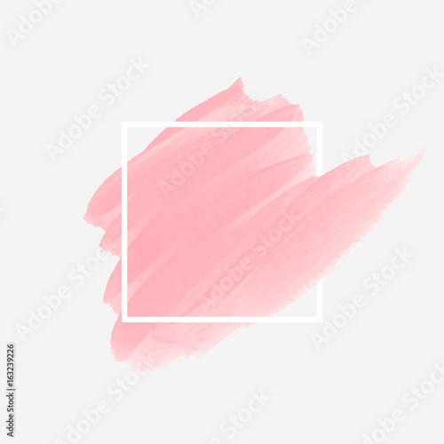 Fotografía  Logo brush painted acrylic abstract background design illustration vector over square frame