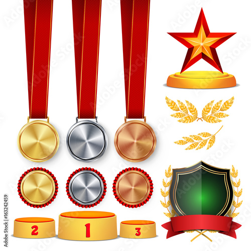 Trophy Awards Cups Golden Laurel Wreath With Red Ribbon And