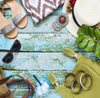 Young woman accessories. Summer travel and vacation concept