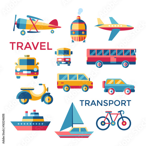 Foto op Canvas Op straat Digital vector blue red yellow travel transport icons set with drawn simple line art info graphic, presentation with car, tram and taxi elements around promo template, flat style