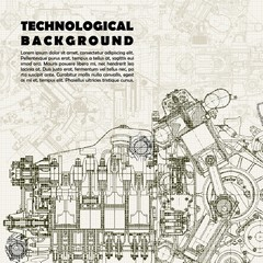 Technological background, drawing  engine