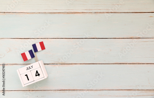 14 july Wooden calendar Happy Bastille Day Wallpaper Mural