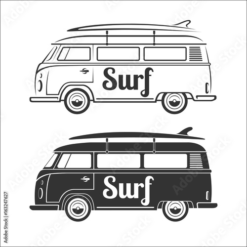 44e6cffd8e Vintage retro camper van with surfboard. Set of surfer bus silhouettes  isolated on white background
