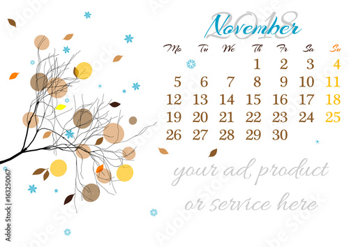 calendar sheet for 2018 year with marked weekend days on white background november abstract