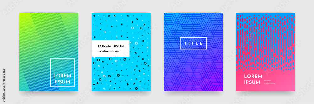 Fototapety, obrazy: Abstract gradient color pattern texture for book cover template vector set
