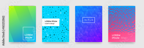 Abstract gradient color pattern texture for book cover template vector set - 163252862