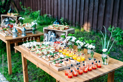 Foto auf Gartenposter Bar Beautiful catering banquet buffet table decorated in rustic style in the garden. Different snacks, sandwiches and cocktails. Outdoor.