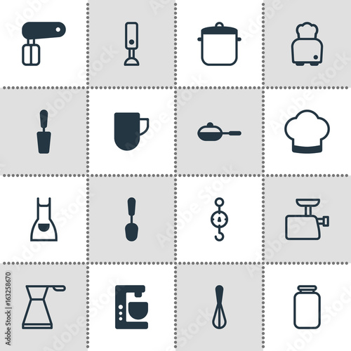 Vector Illustration Of 16 Cooking Icons Poster