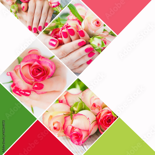 Fotografie, Obraz  Collage with woman hands with beautiful  pink manicured fingernails and delicate