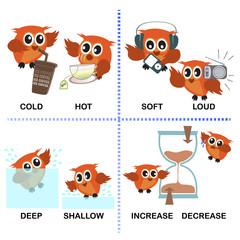 Fototapeta samoprzylepna opposite word vector background for preschool (cold hot deep shallow soft loud increase decrease)