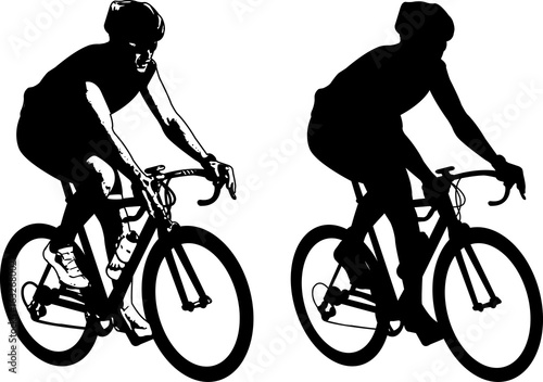 Fotomural  bicyclist sketch illustration and silhouette - vector