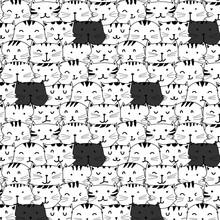 Hand Drawn Cute Cat Vector Pat...