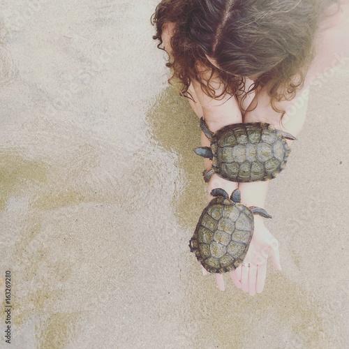Woman kneeling on the beach holding two sea turtles, Orange County, California, America, USA
