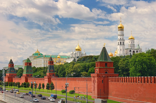 Panoramic view on Moscow Red Square, Kremlin towers stars and Kremlin Palace, Ivan bell tower church Canvas Print