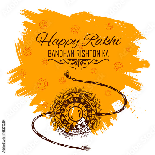 Fotografering  Greeting card with Decorative Rakhi for Raksha Bandhan background