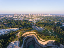 Drone View Of Atlanta, GA From The Bellwood Quarry.