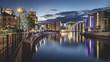 Berliner Regierungsviertel und Bundestag am Abend