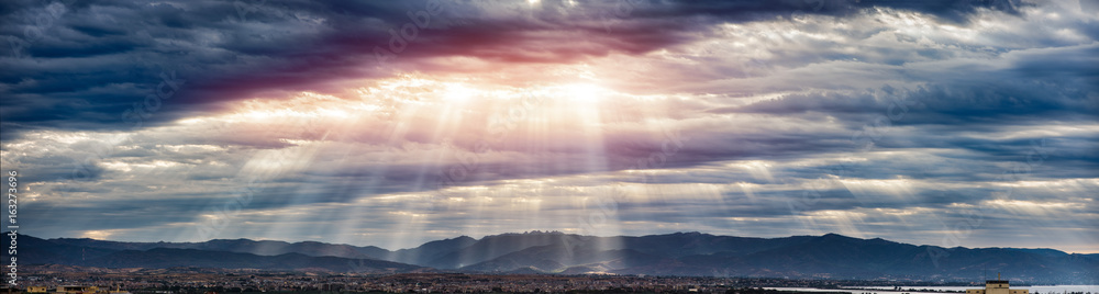 Fototapety, obrazy: Beam of light through the clouds on the mountains - Rays of light shining through dark clouds , dramatic sky with cloud