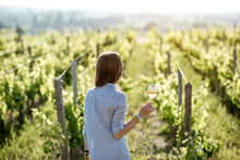 Young Woman With Wine Glass St...