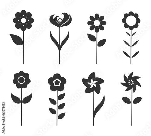 In de dag Abstractie Art Flower icons set