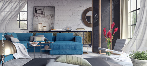 Fotografija  Living room, interior design 3D Rendering