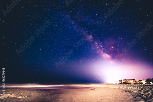 Bethany Beach at night with the Milky Way Canvas Print