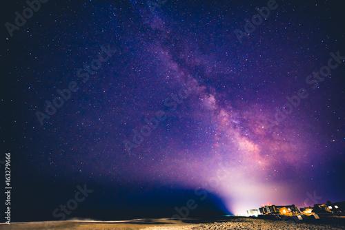 Night scene at Bethany Beach with the Milky Way Canvas Print
