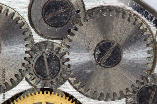 The mechanism of the old clock on a large scale Canvas Print