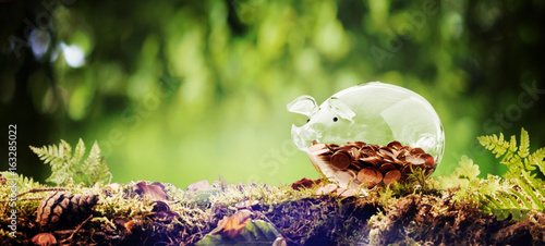 Fotografie, Obraz  Panorama banner of a piggy bank in nature