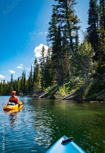 Fotografie, Obraz  kayaking on Lake Jenny in Grand Tetons National Park