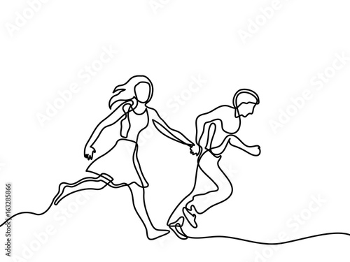 Fotografie, Tablou Happy running couple
