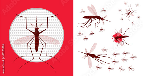 Mosquito net icon. Vector illustration of flying mosquitoes.Flock of ...