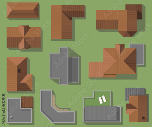 Top View Of Houses Roofs Vector Set Modern High Tech And Classic Roofing Houses Buy This Stock Vector And Explore Similar Vectors At Adobe Stock Adobe Stock