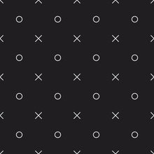 Memphis Style Seamless Vector Pattern With Letters X And O. Minimal Decorative Texture For Print, Invitation, Textile, Fabric, Wallpaper, Card, Poster, Home Decor, Packaging, And Wrapping Paper.
