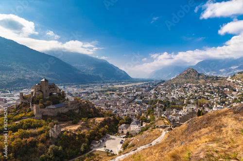 Foto op Canvas Zuid Afrika Aerial view of the old town of Sion city and the Valere Basilica